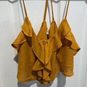 Mustard Yellow Forever 21 Cropped Tank Top